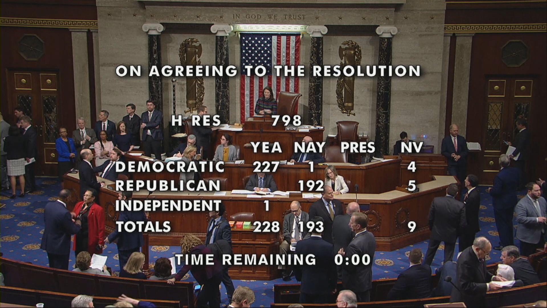 美眾議院通過向參議院提交彈劾條款