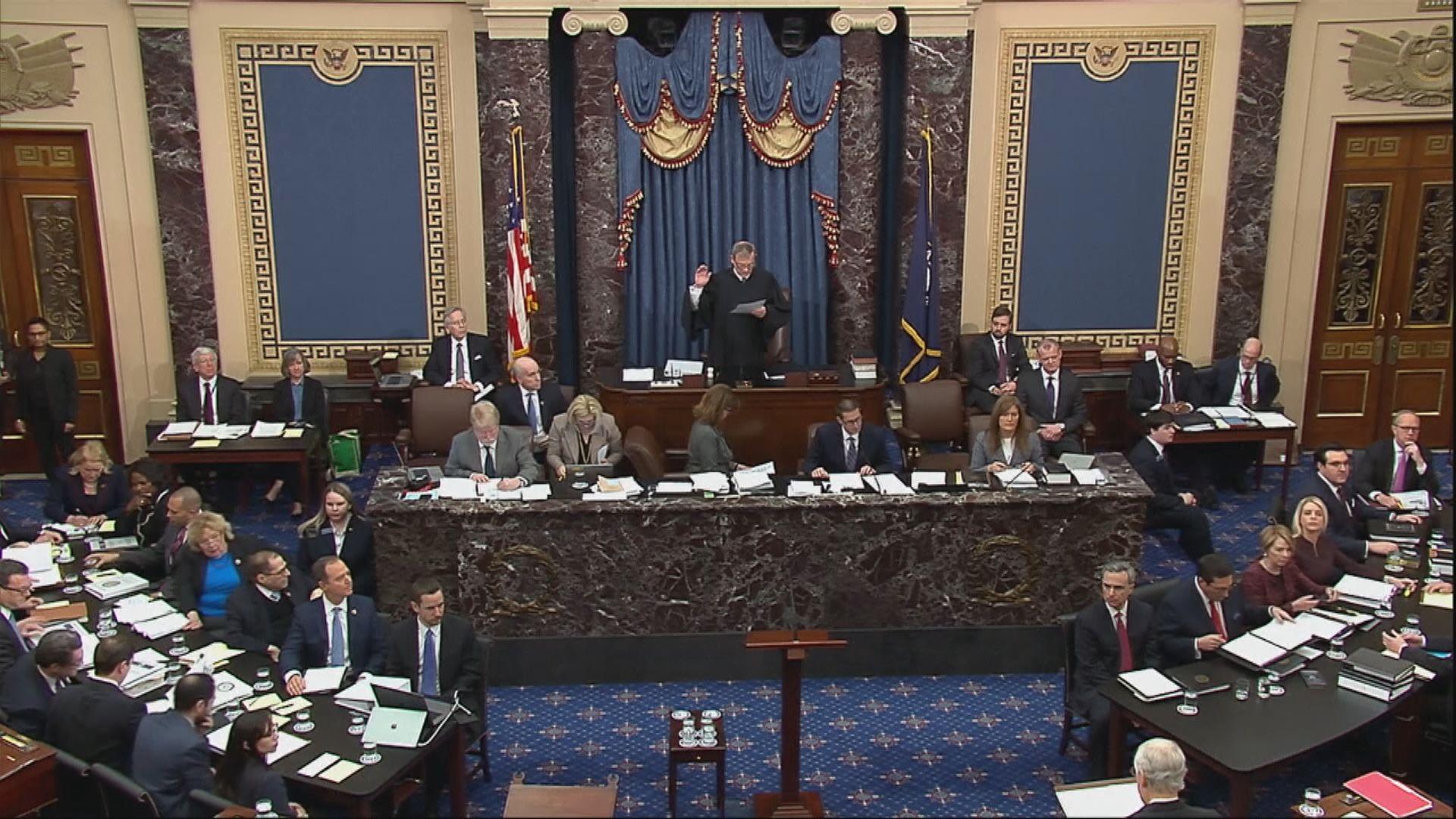 美國參議院通過彈劾案審訊規則決議