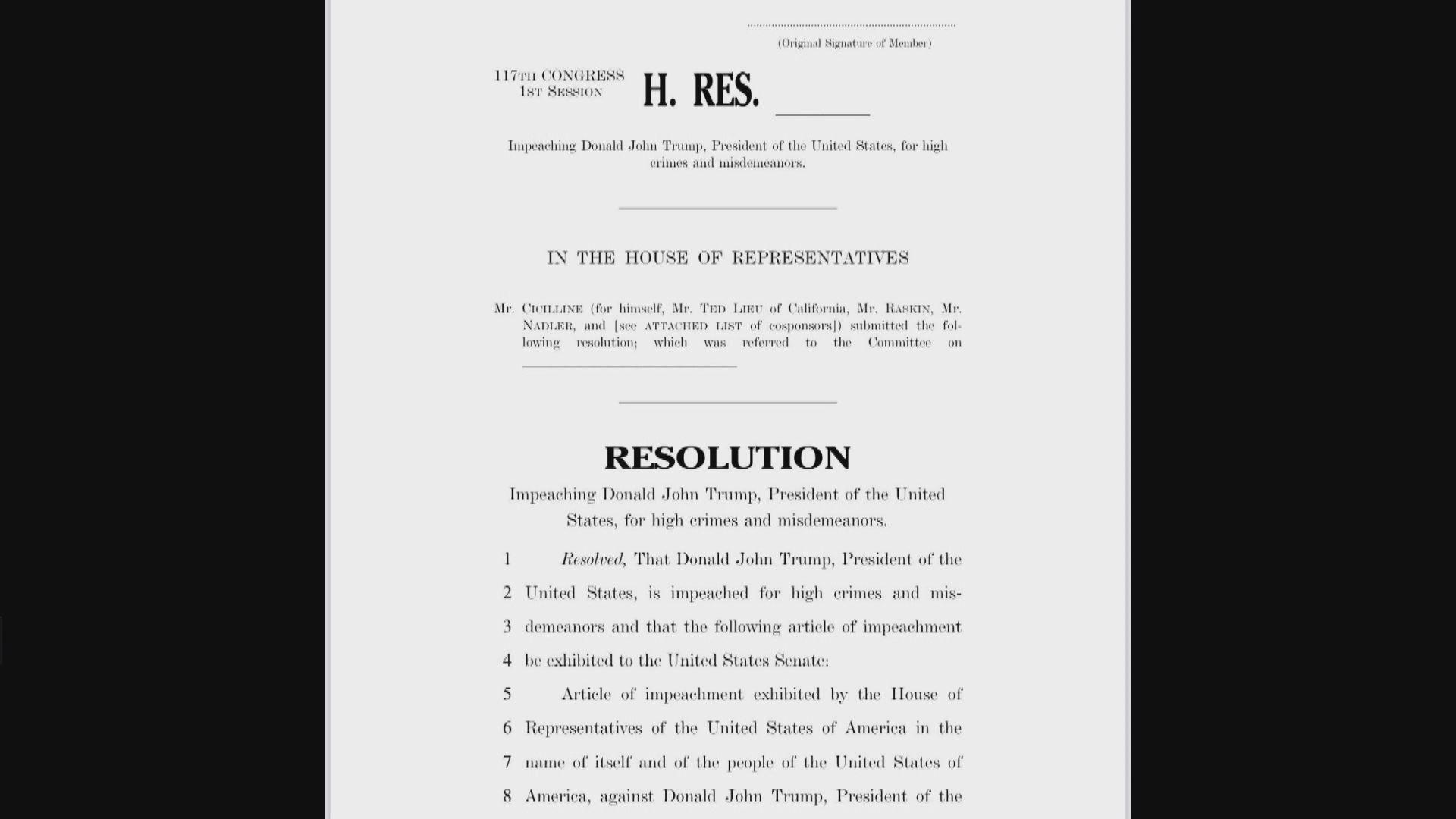 美國民主黨向眾議院提交彈劾特朗普議案