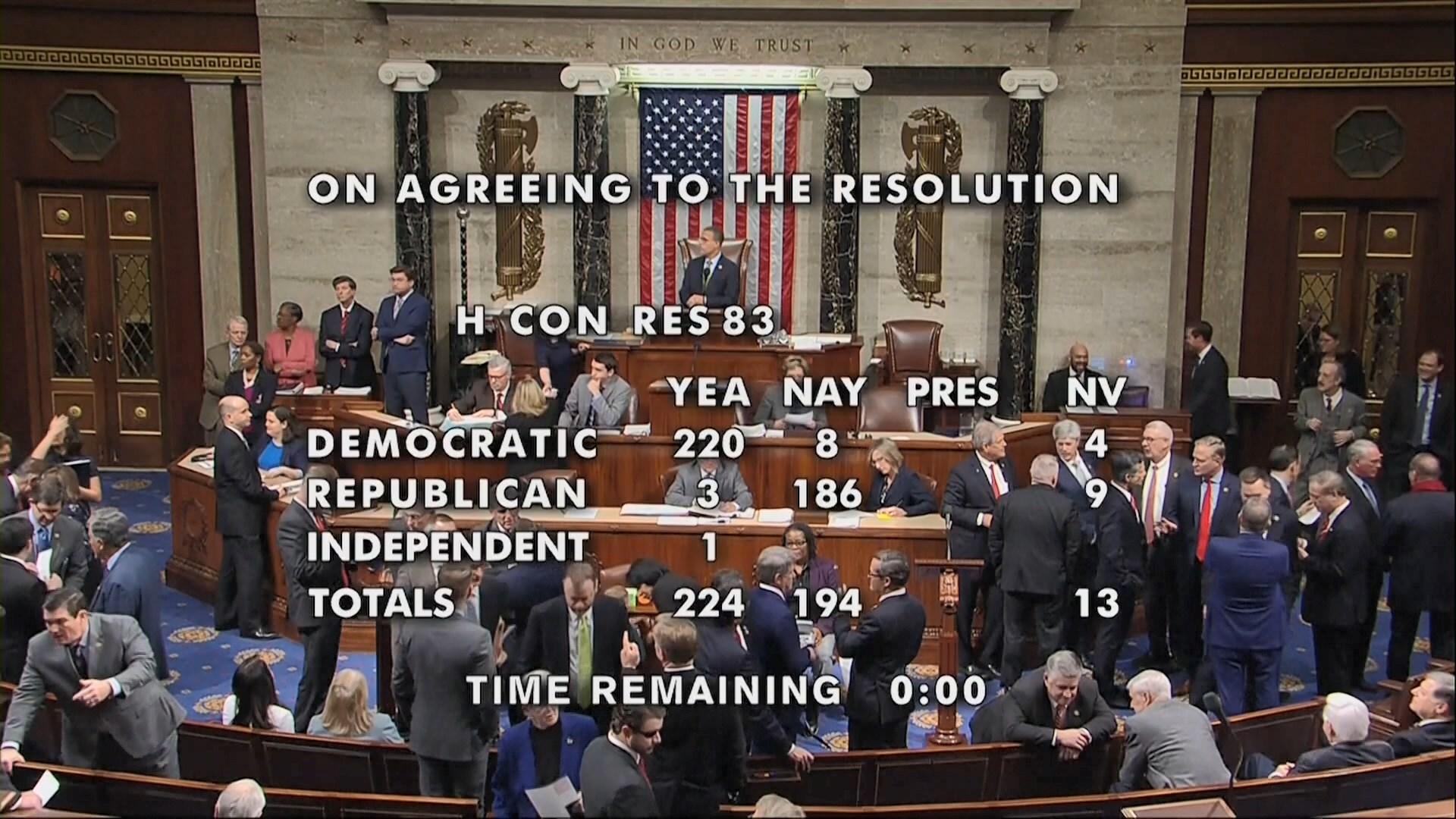 美眾議院通過限制總統戰爭權力議案