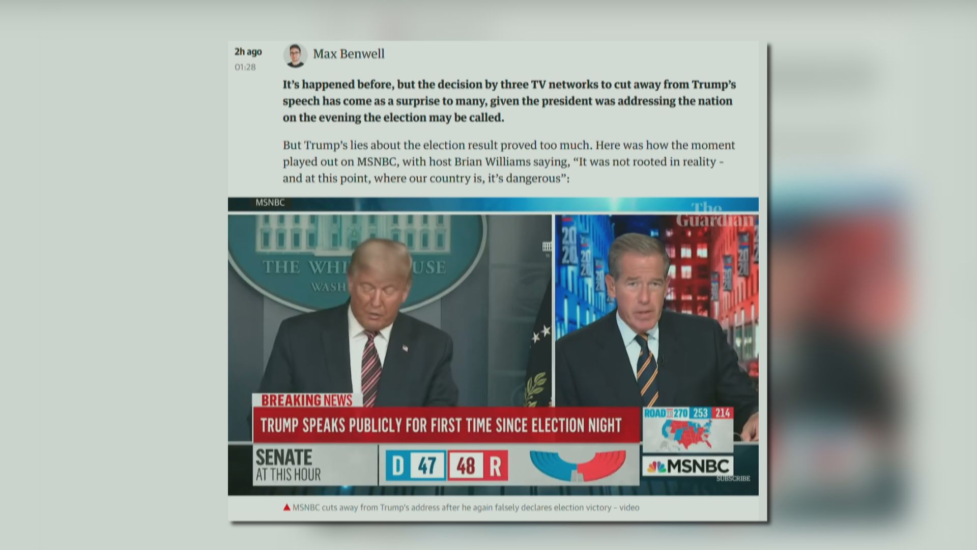 特朗普指控選舉有舞弊 多間電視台指言論不實中斷直播