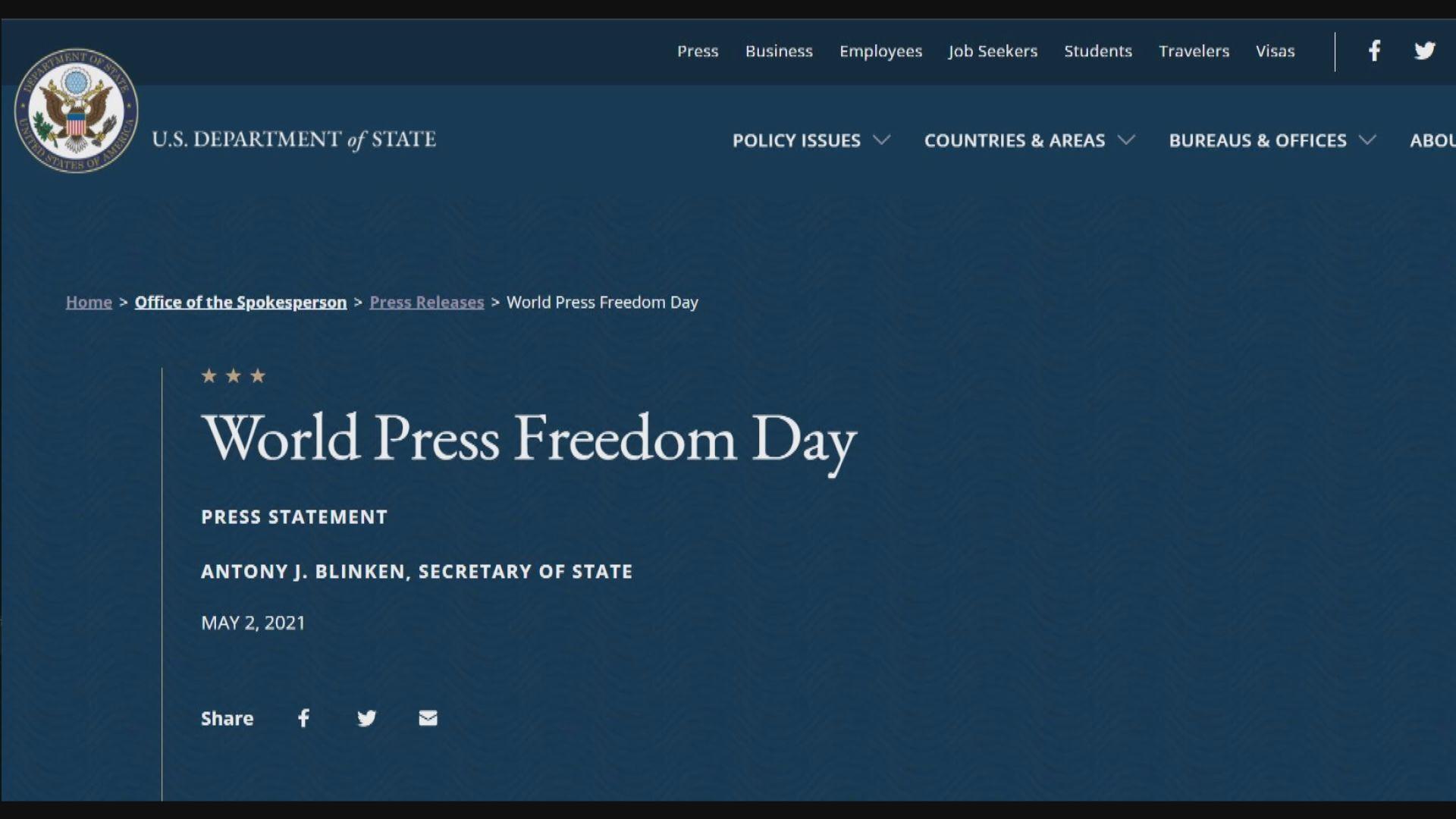 世界新聞自由日 美國促保護媒體安全
