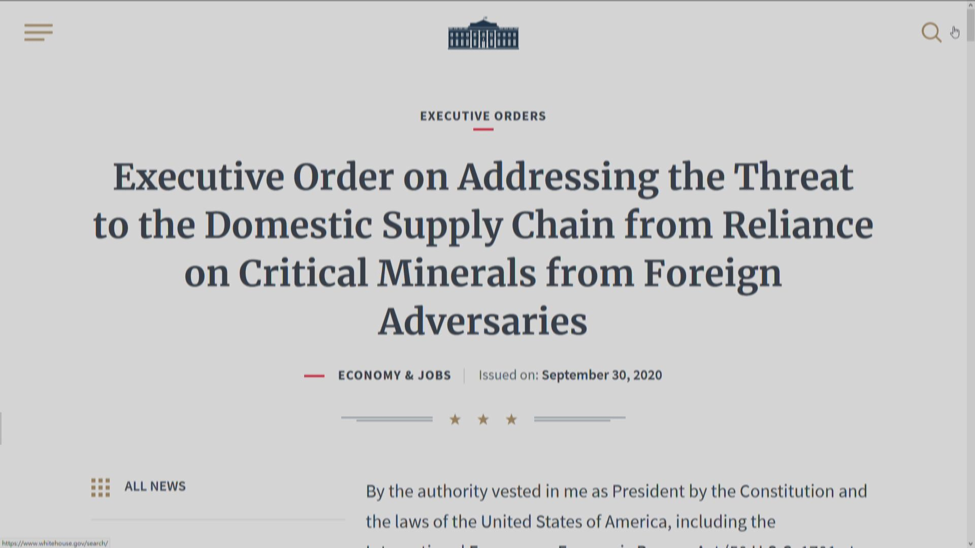 特朗普簽行政命令增加美國稀土生產