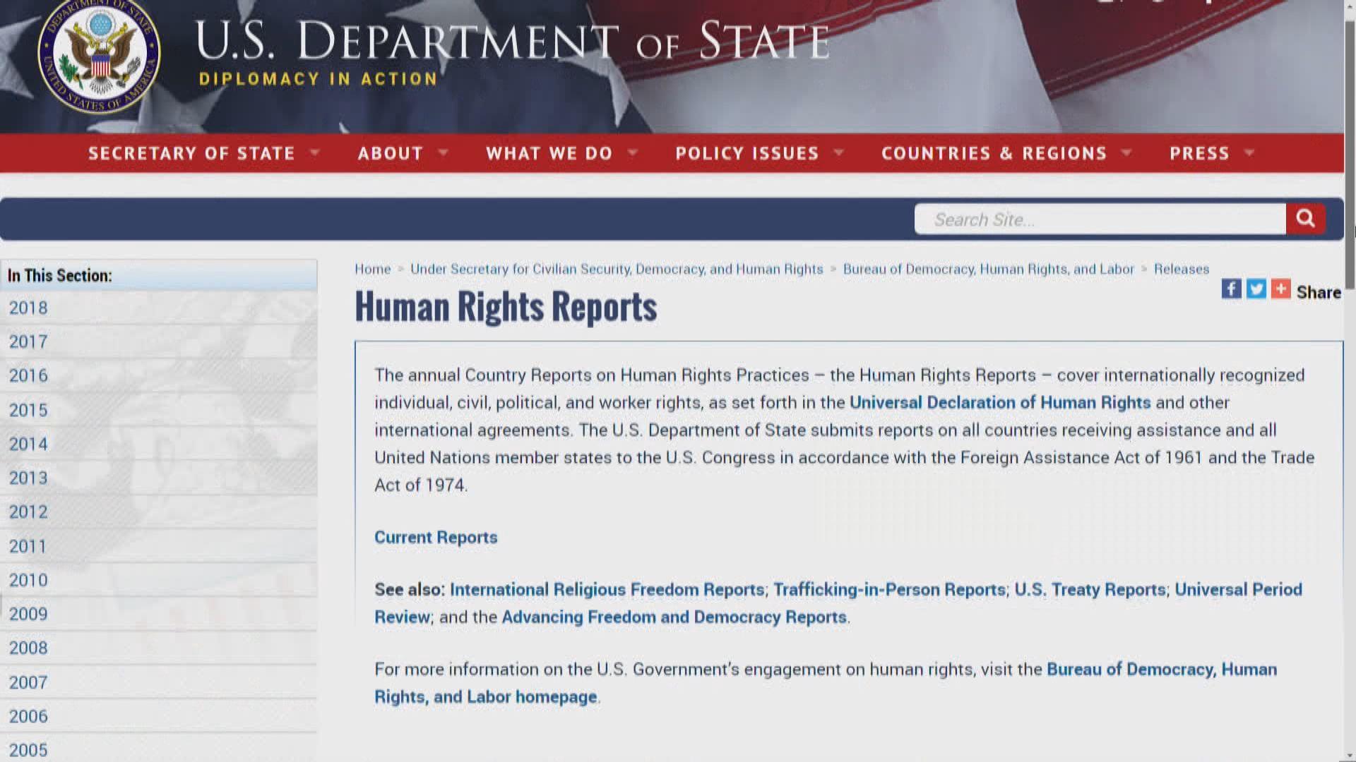 美國人權報告批香港參政及言論自由受限
