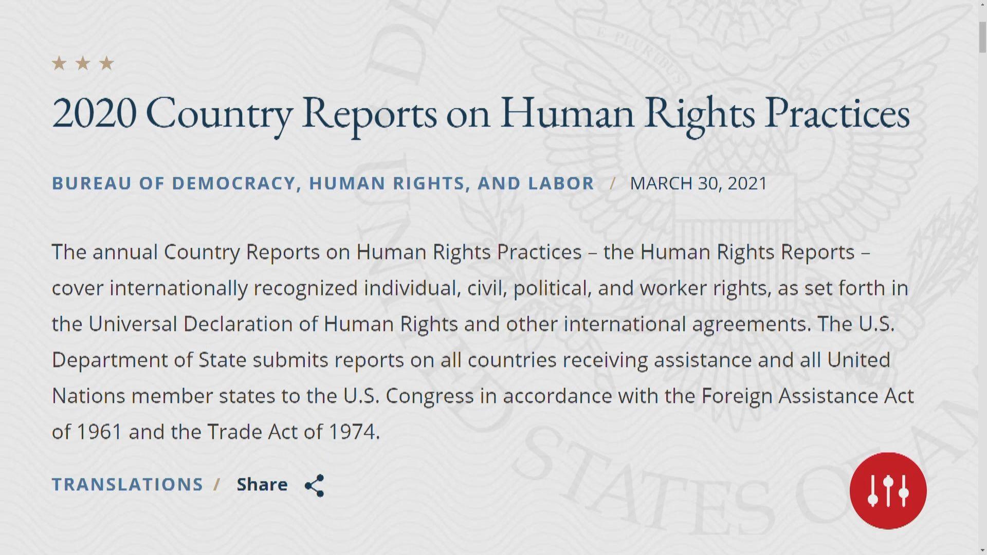 美國發表人權報告批中俄等國侵害人權