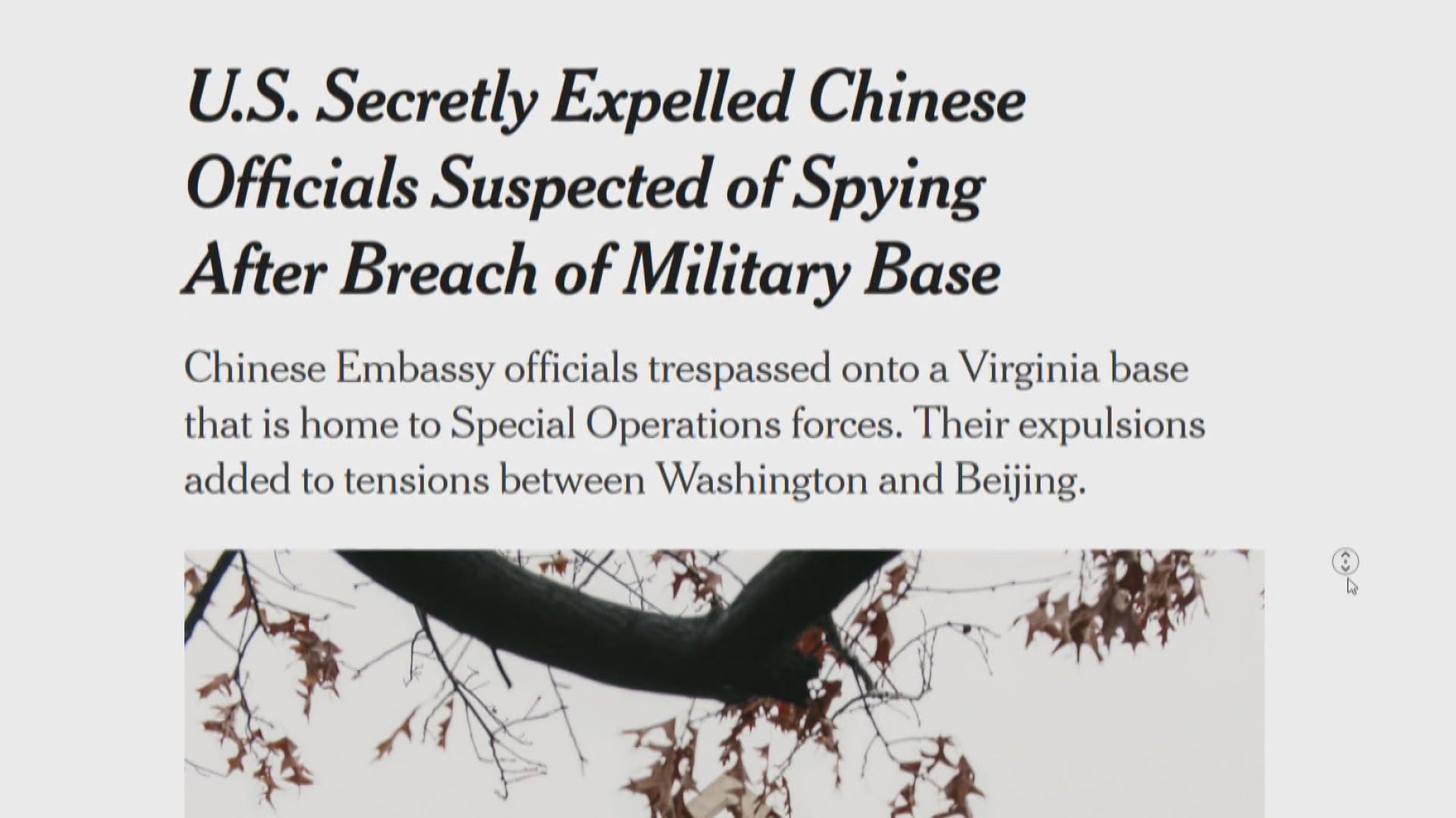 傳美暗中驅逐兩名疑涉間諜活動中國外交人員