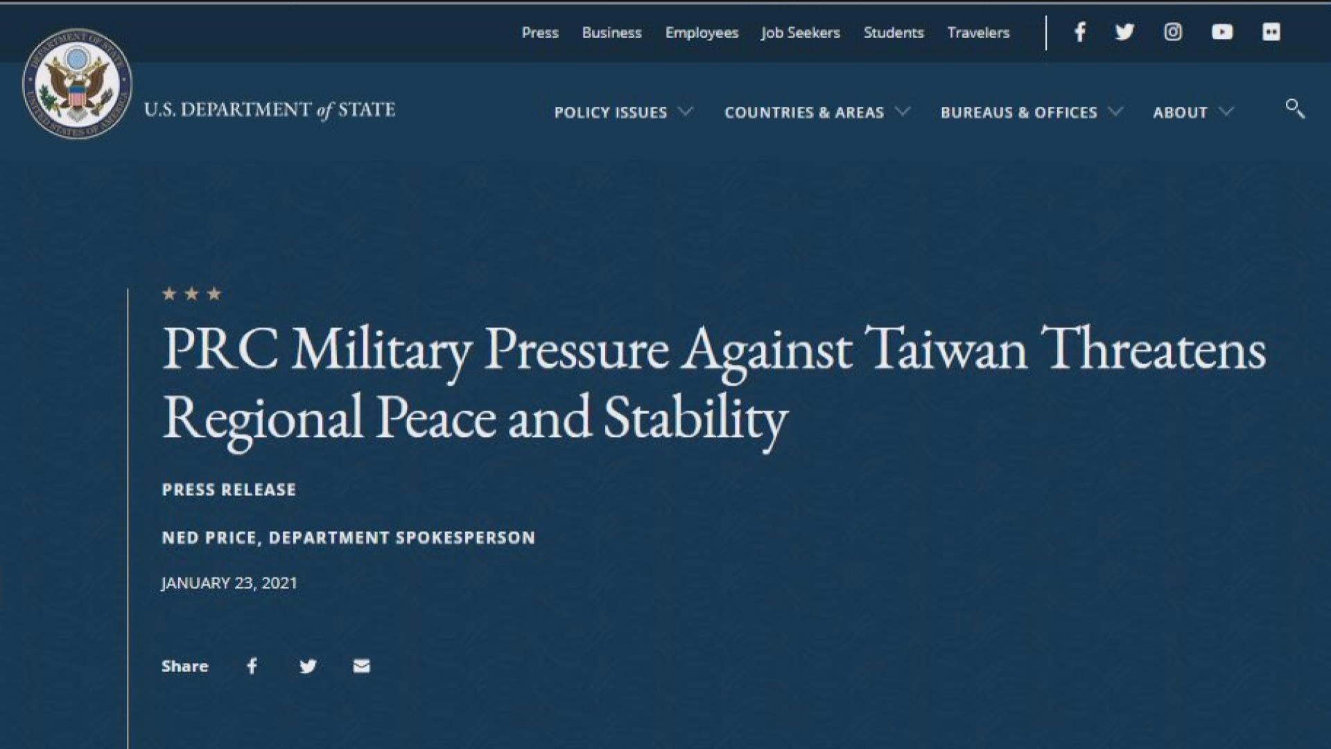 美國務院籲北京停止以軍事、外交及經濟手段向台施壓