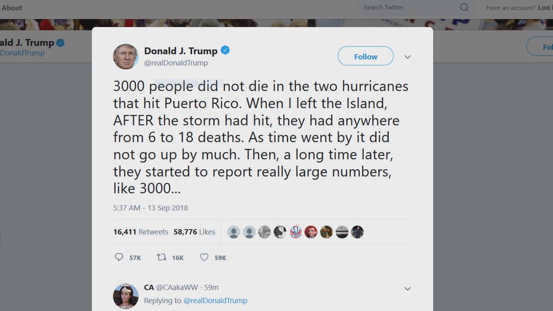 特朗普否認颶風報告死亡人數被批