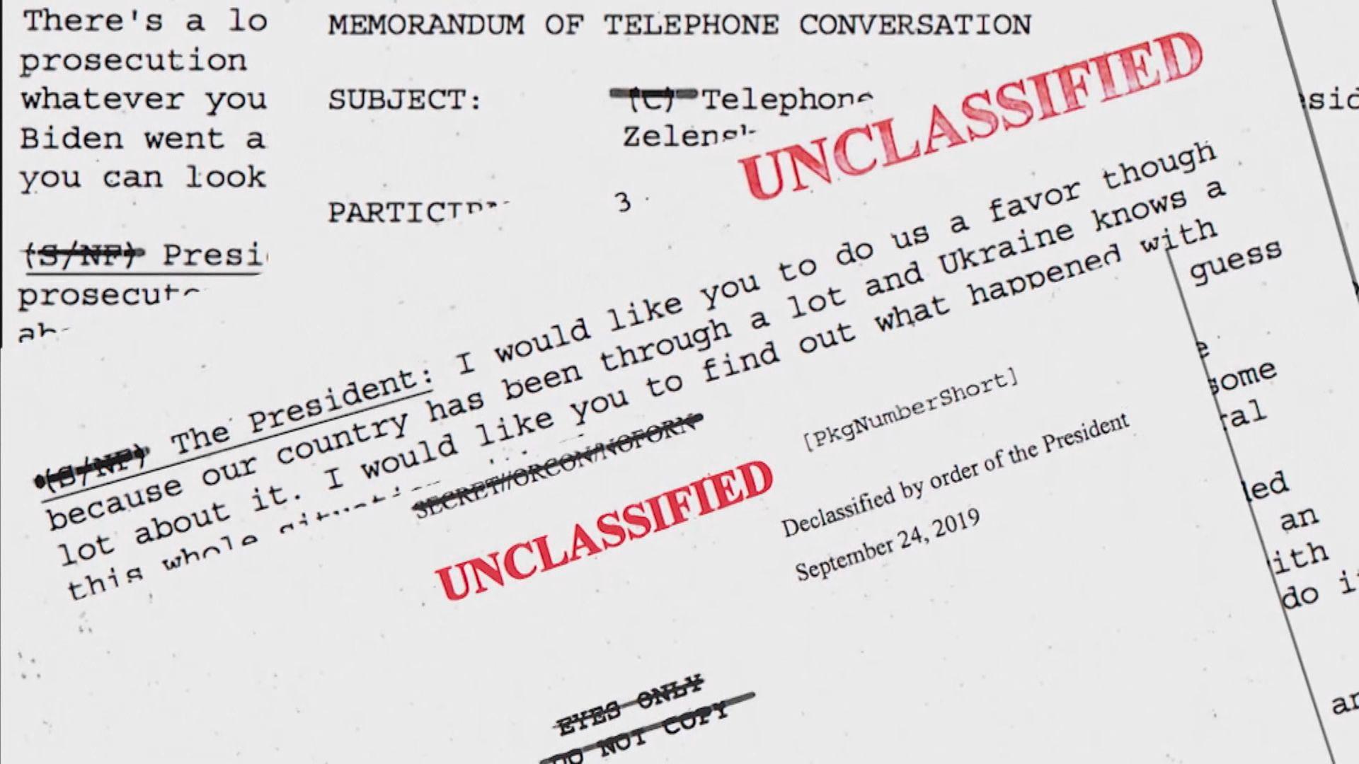通話紀錄顯示特朗普要求烏克蘭調查拜登父子