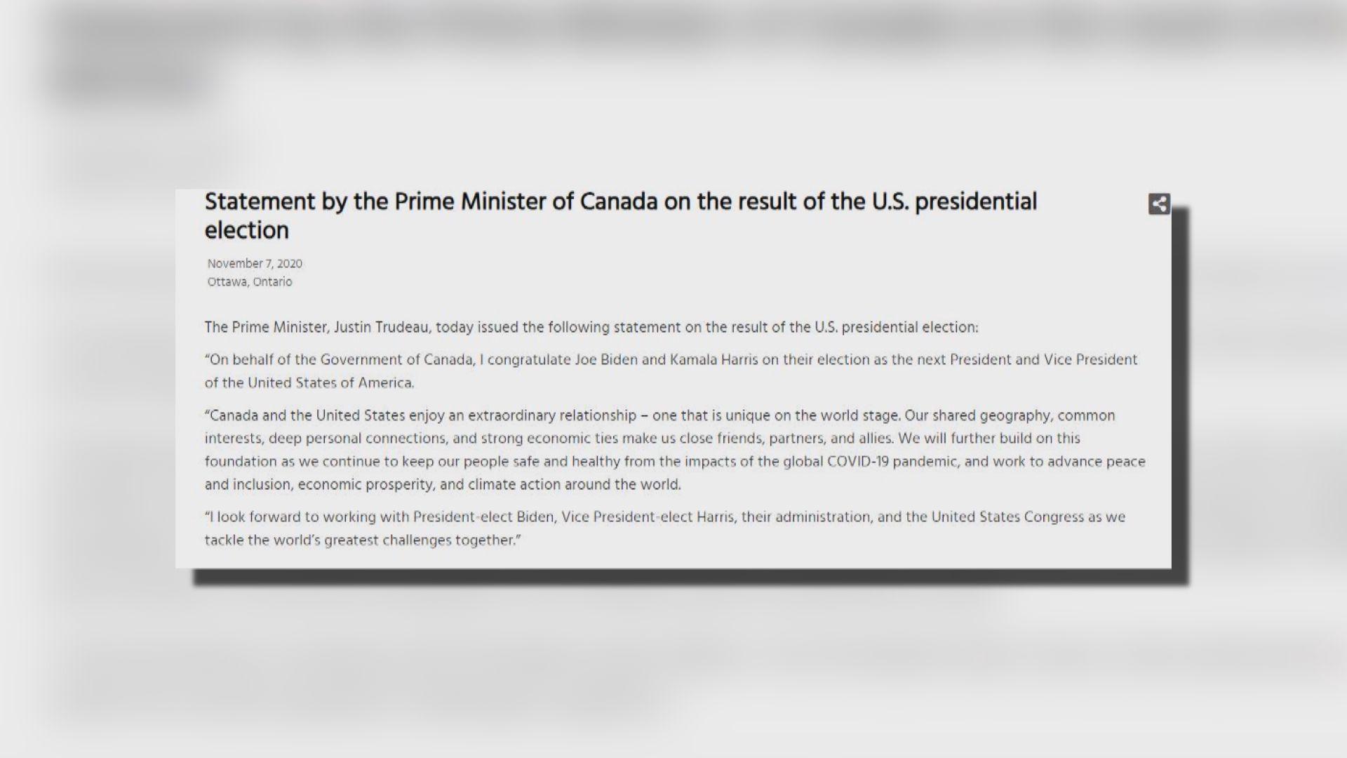 加拿大和歐洲多國領袖相繼恭賀拜登當選