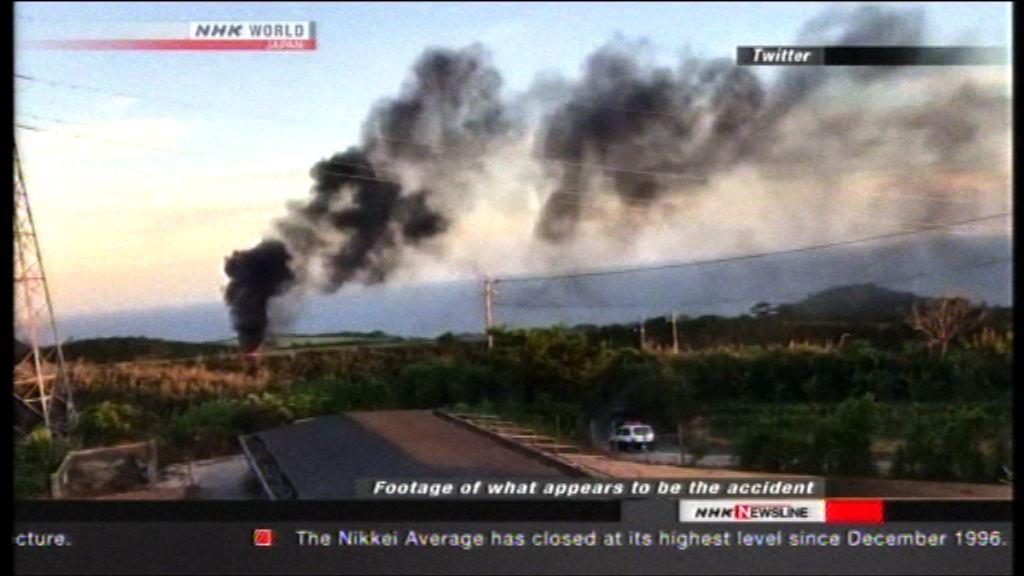 美軍一架直升機在沖繩訓練時起火