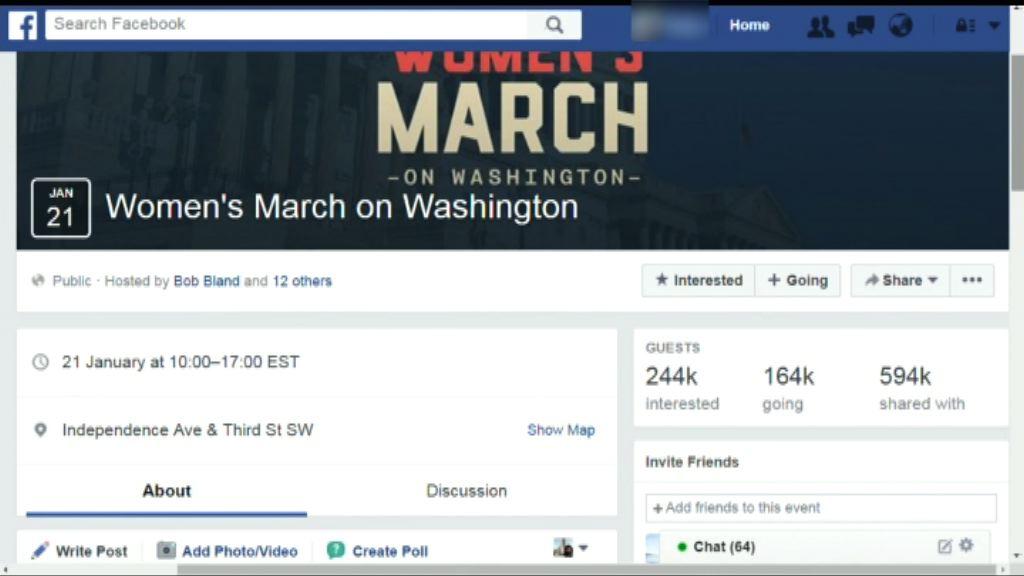 料逾十萬人參加特朗普就職翌日遊行