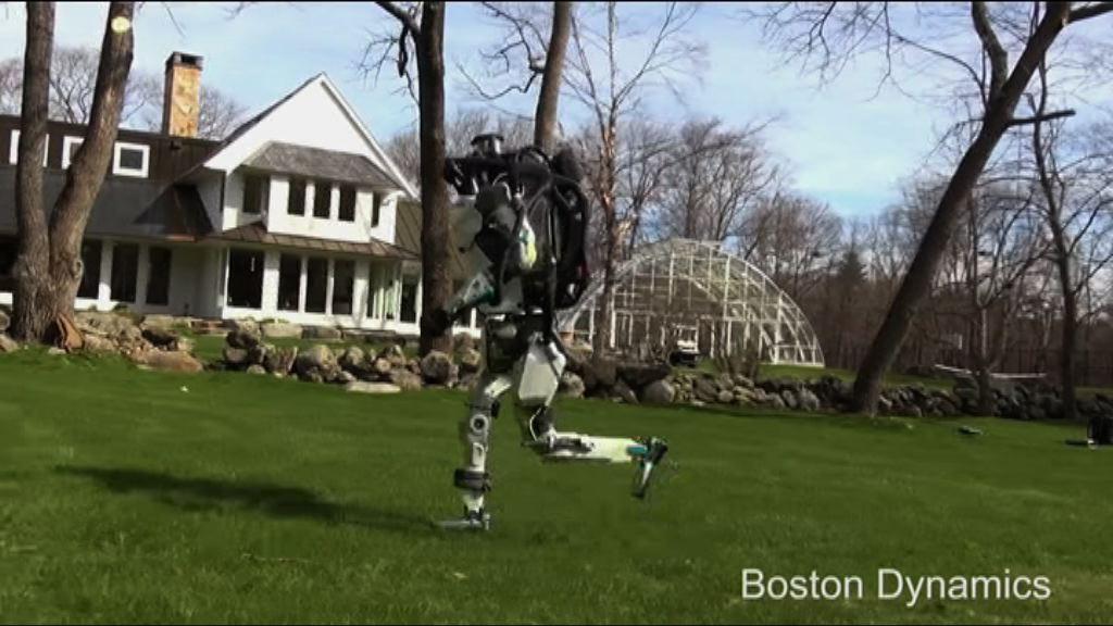 機械人新招式在草地慢跑