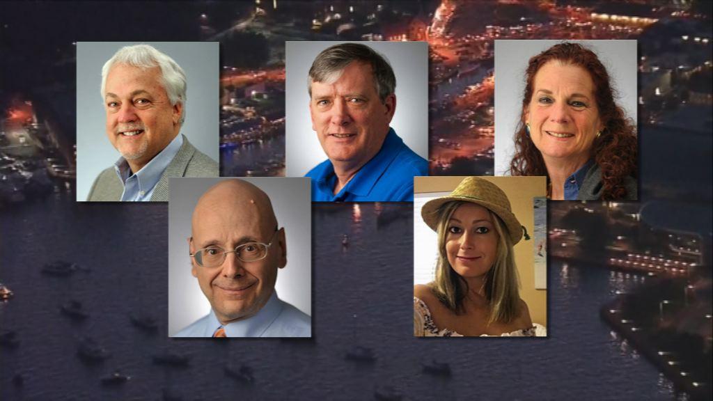 美報社槍擊案居民悼念五名死者
