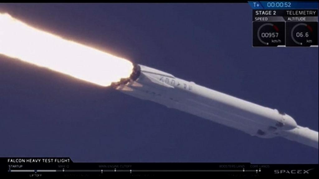獵鷹重型運載火箭首次試射升空