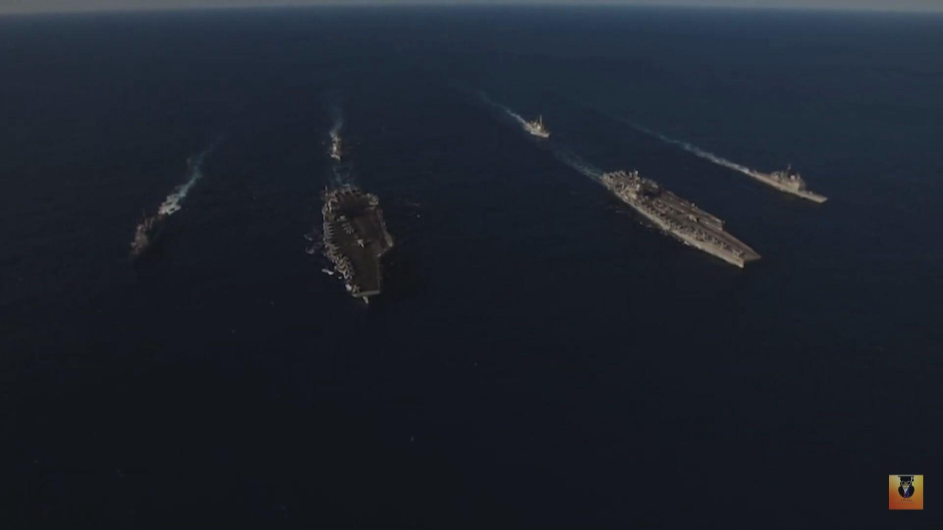 中美同時在南海進行軍演情況罕見