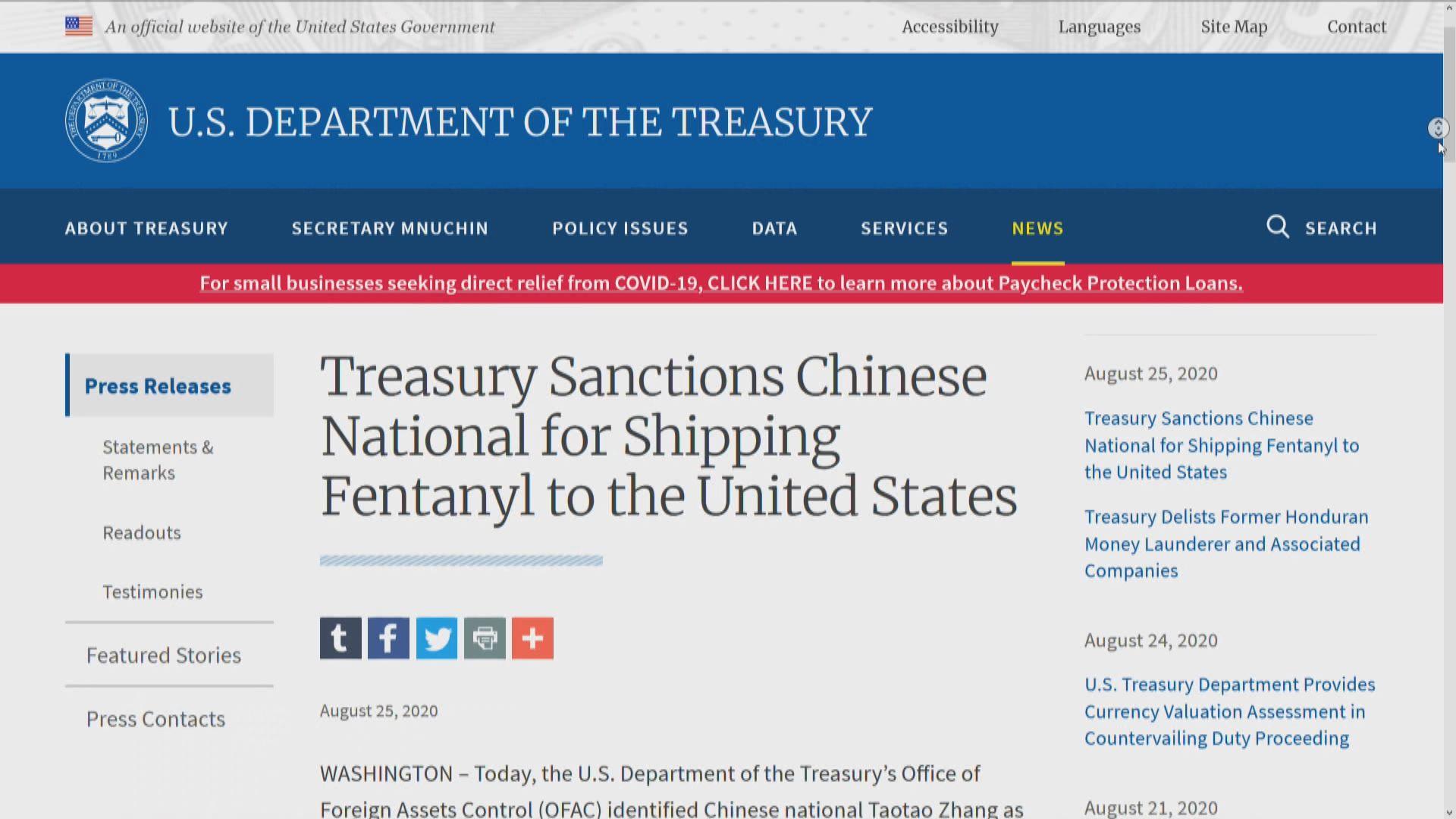 美財政部制裁一中國男子和一香港公司 涉販運非法藥物