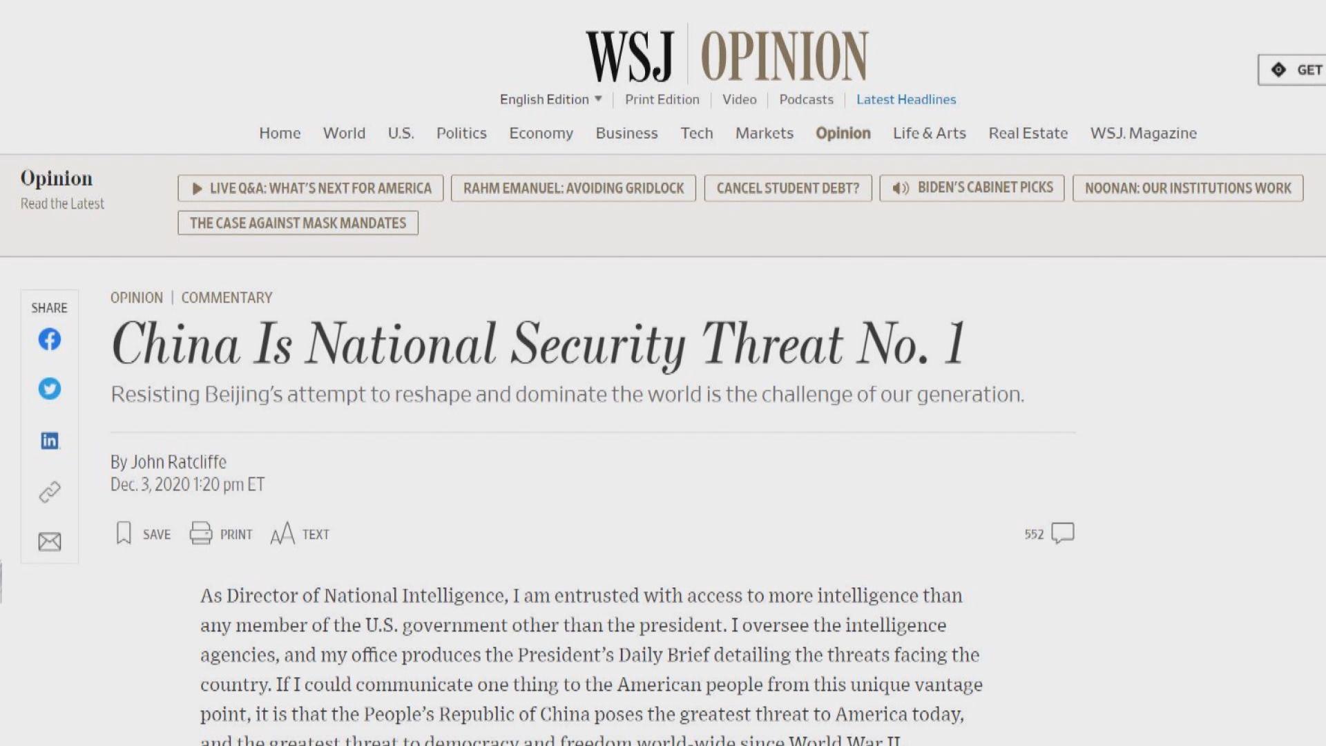 美國國家情報總監《華爾街日報》撰文指中國是最大威脅
