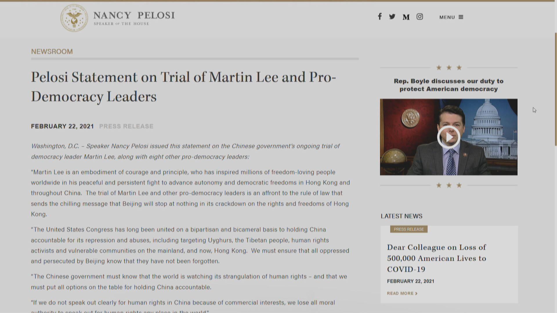 佩洛西關注李柱銘等人案件 籲追究中國責任