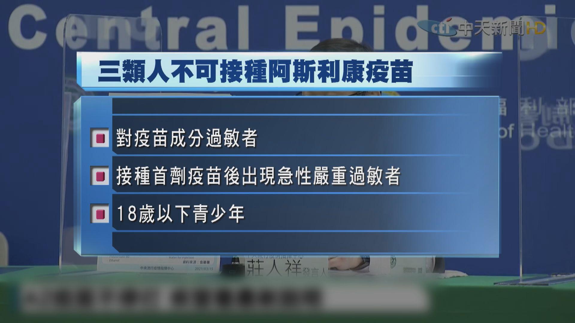台灣建議三類人士不要接種阿斯利康疫苗