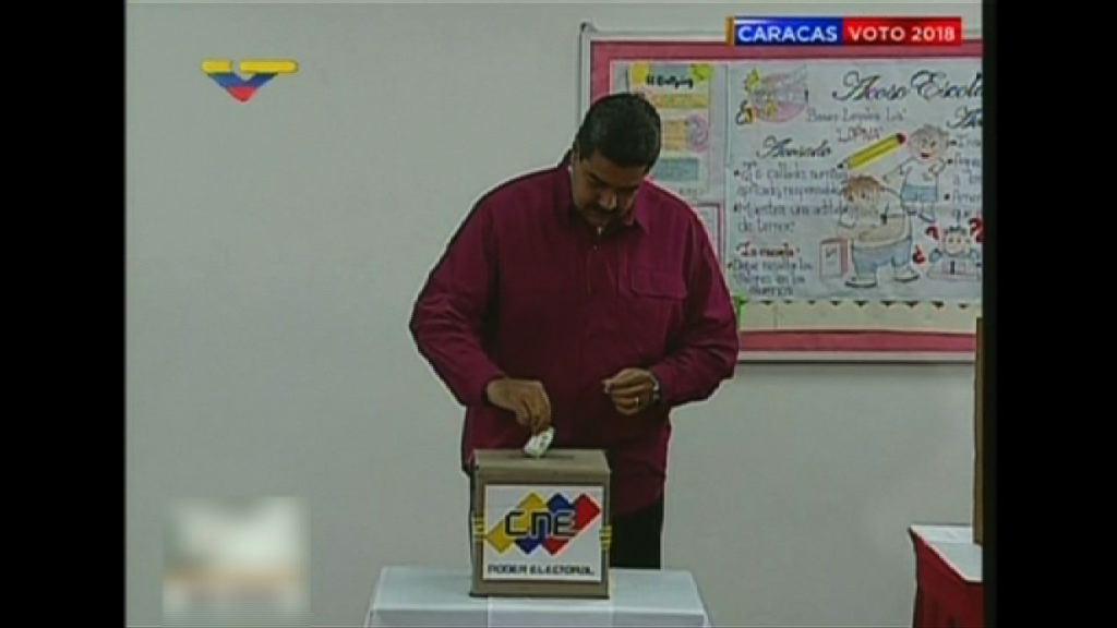競逐連任委國總統馬杜羅投票