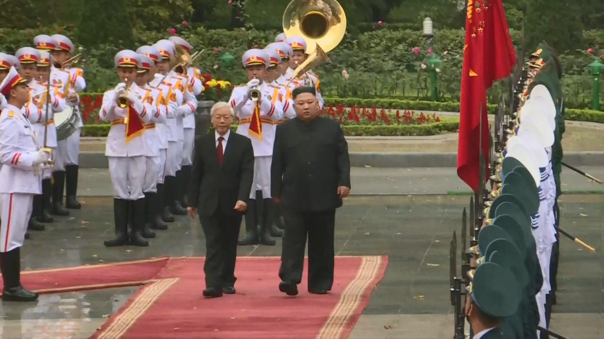 金正恩抵越南與阮富仲舉行首腦會談