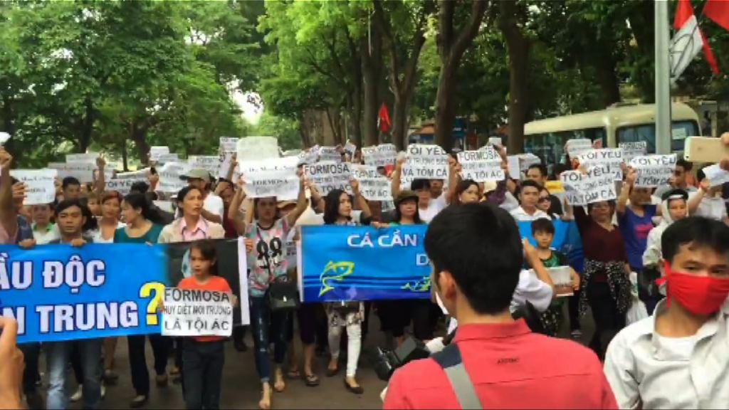 越南人示威指台塑污染致海產死亡