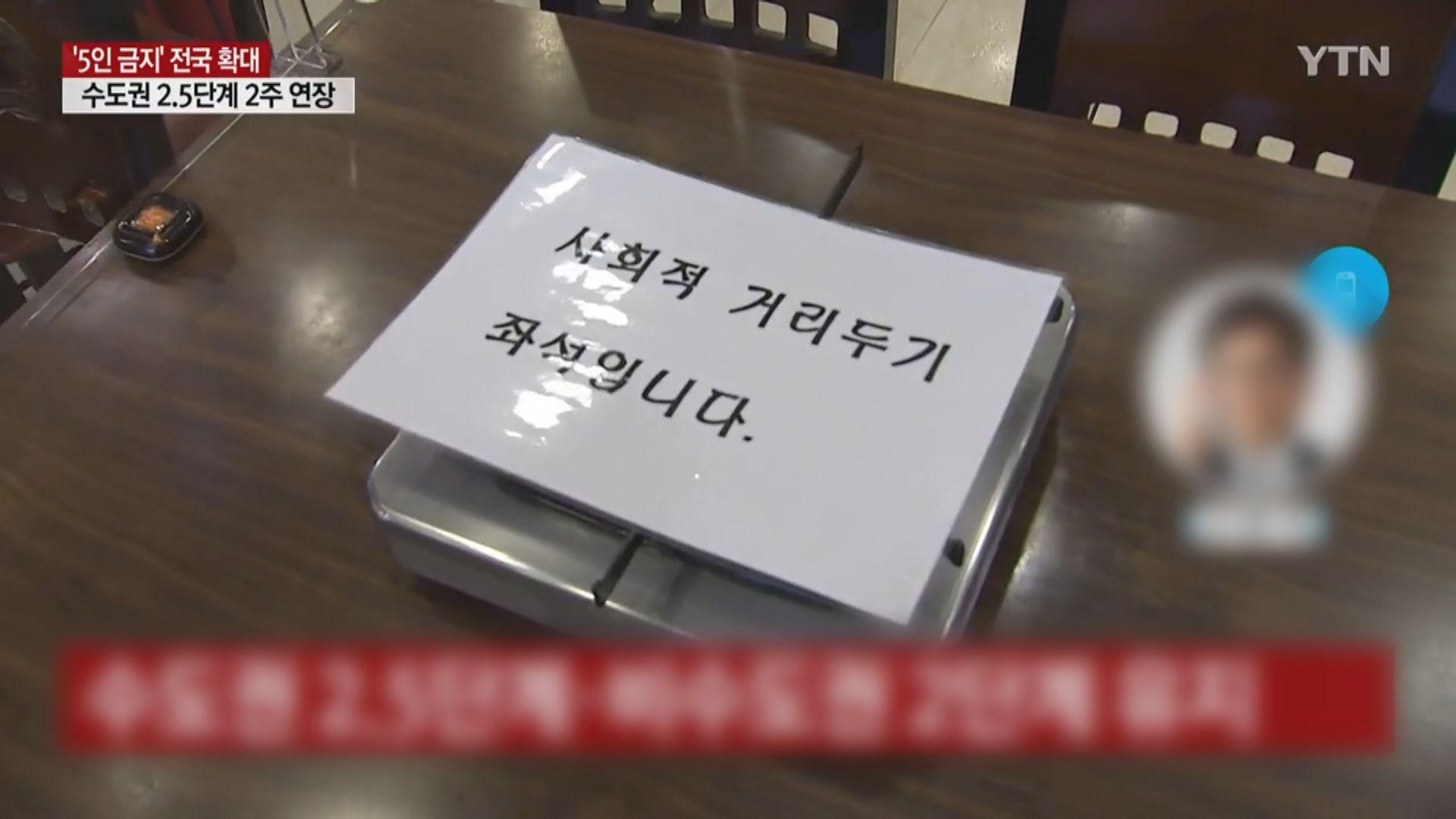 南韓五人限聚措施擴大至全國