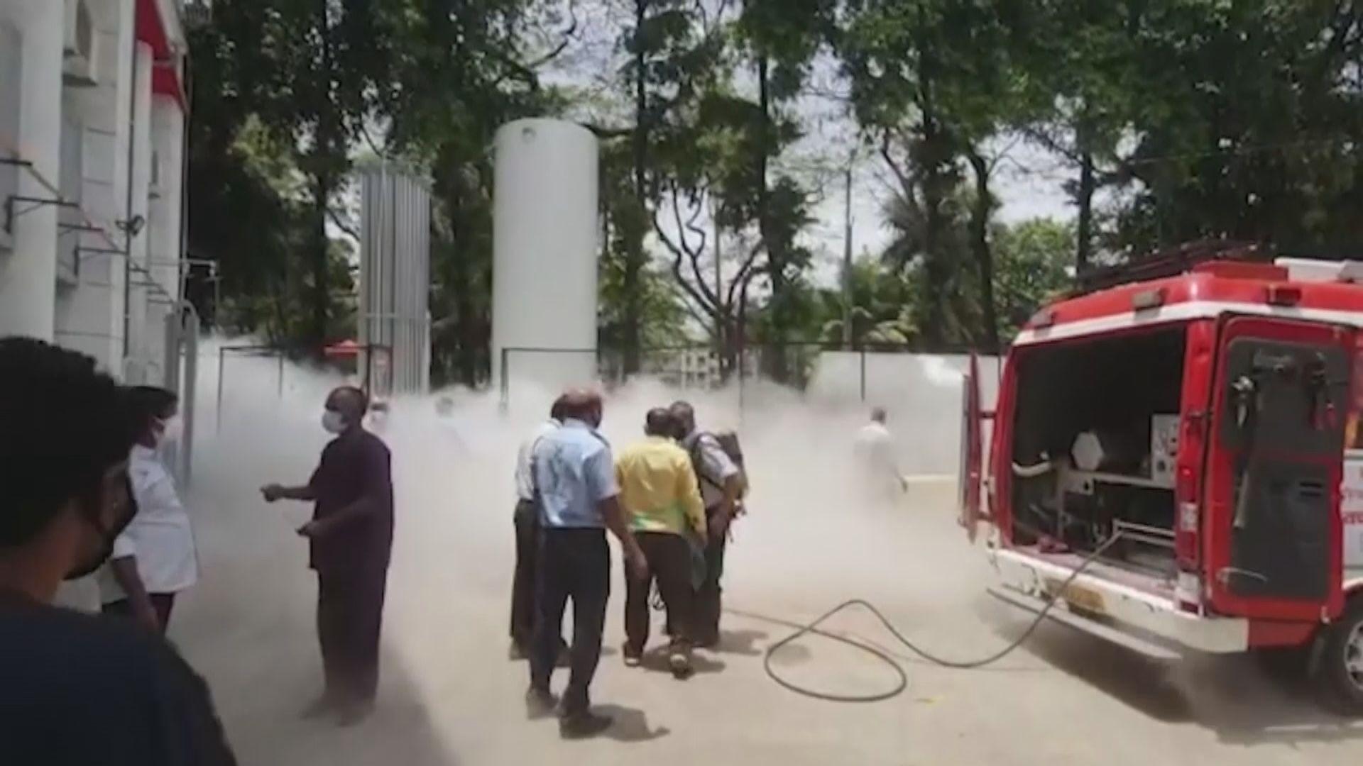 印度疫情嚴重 有醫院氧氣缸洩漏