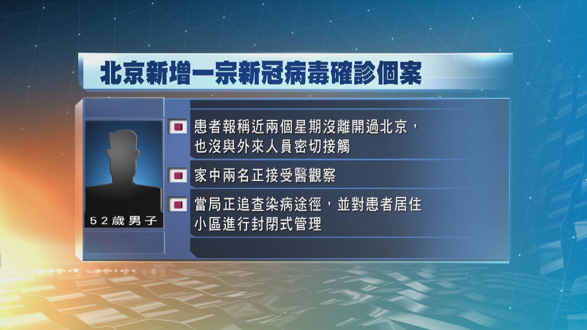 北京新增一宗確診個案 患者報稱最近兩周無離開北京