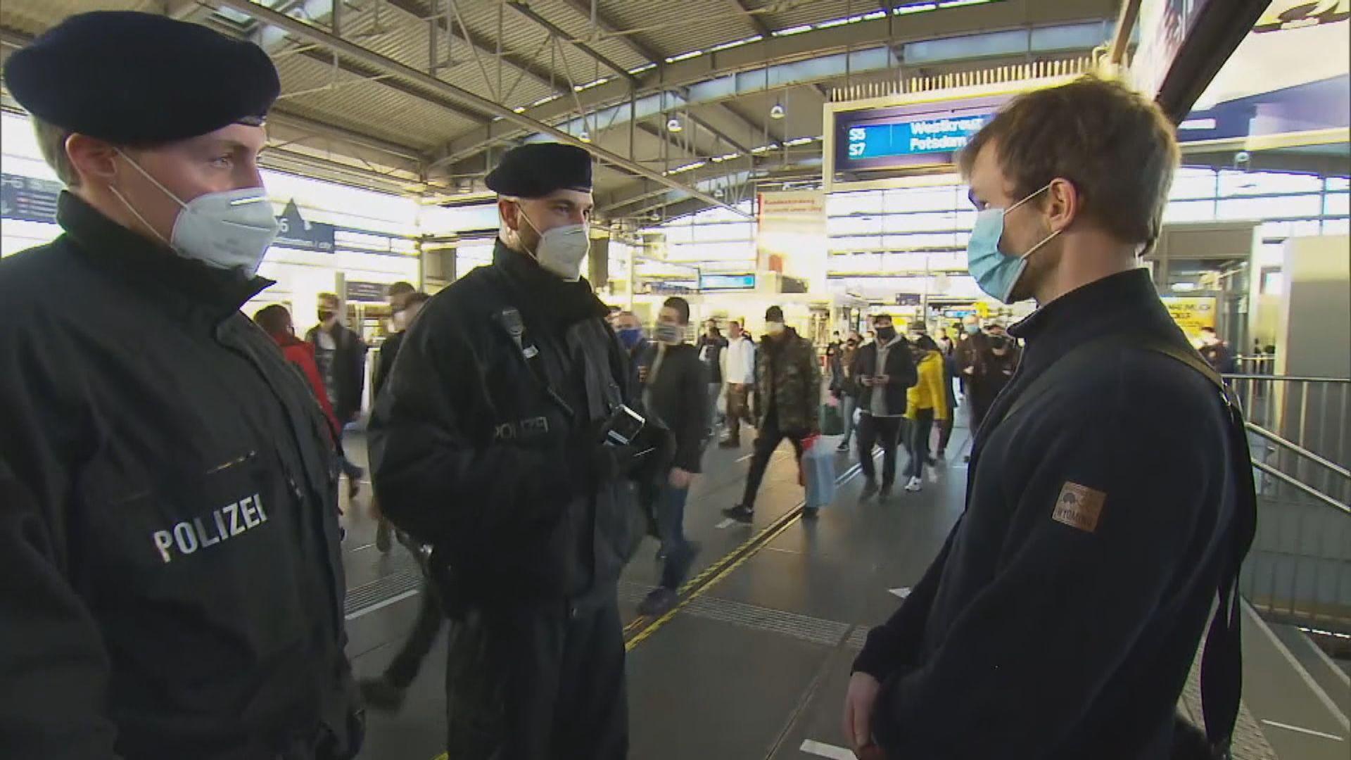 德國部分地區實施封城警察加強巡查