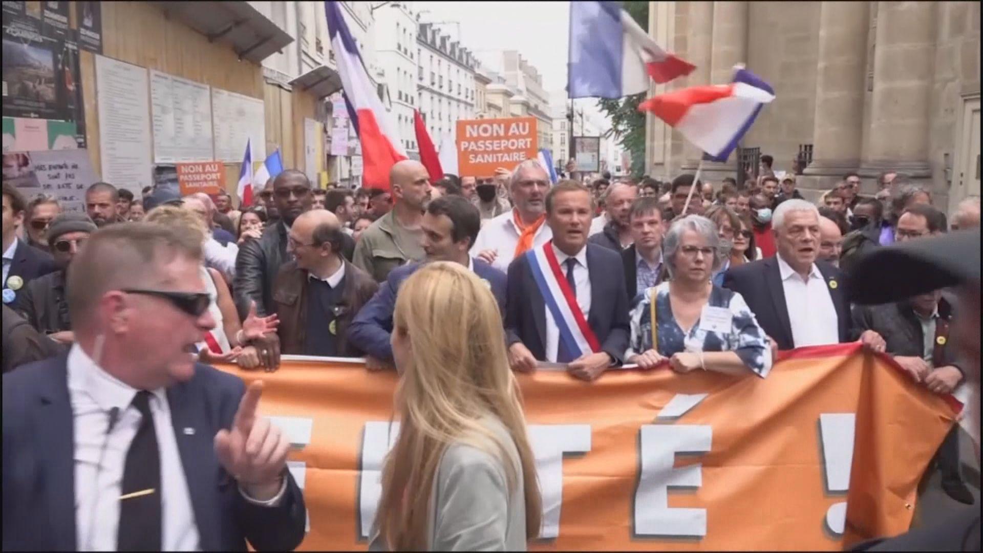 法國逾十萬人示威抗議強推接種疫苗及健康通行證