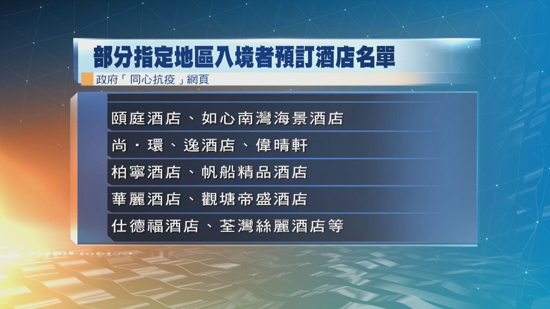 政府公布25間酒店接受指定地區入境人士訂房作檢疫