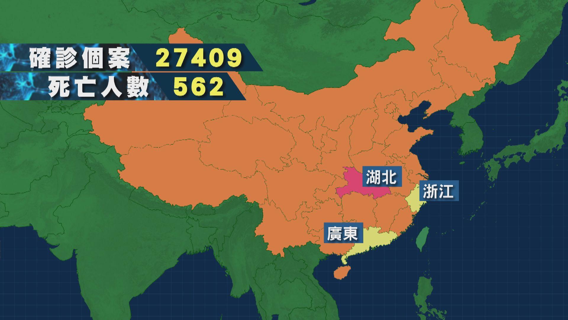 內地新型冠狀病毒肺炎 至今內地有27409人確診