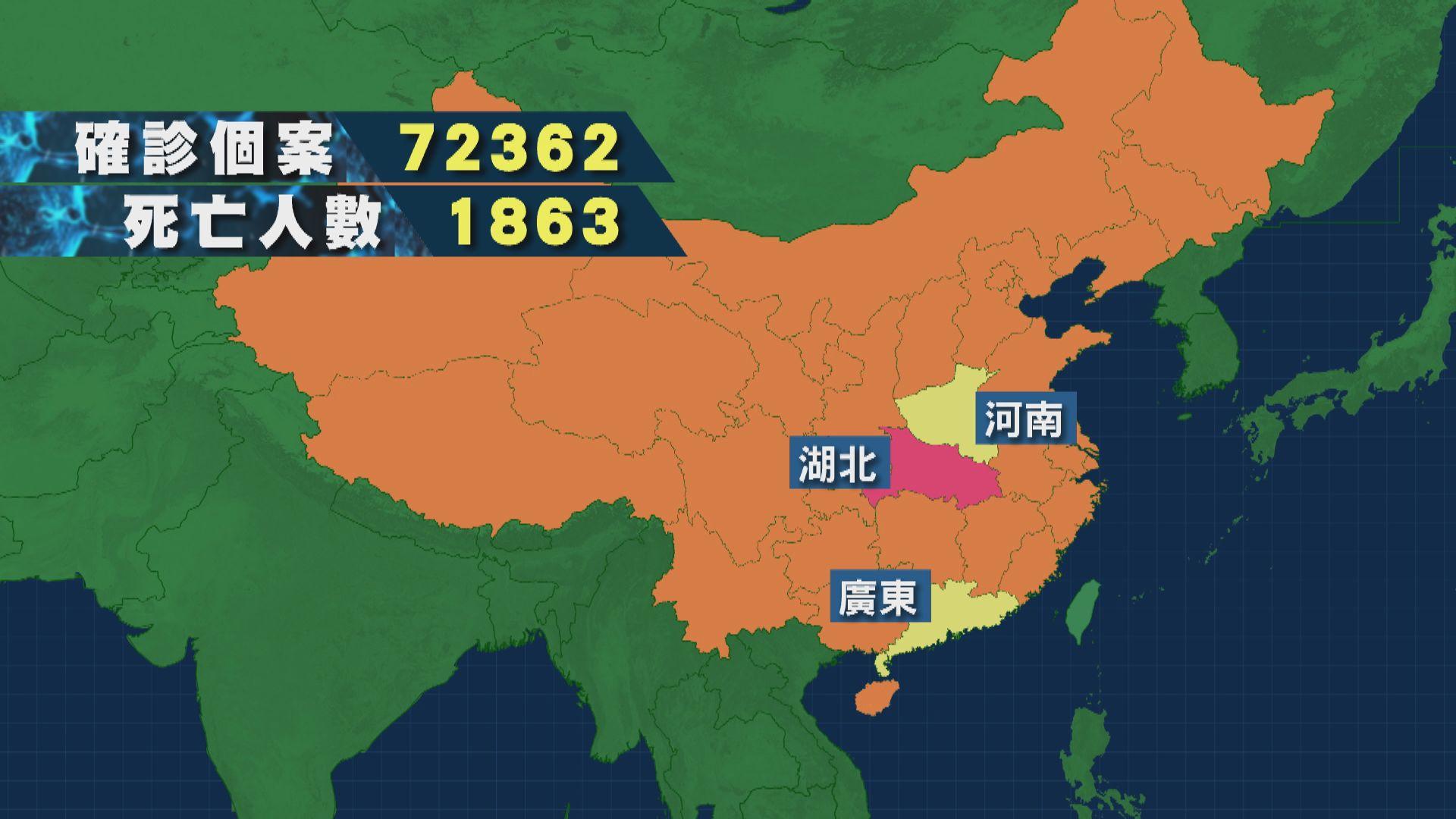 內地72363人確診 累計死亡超過1800人