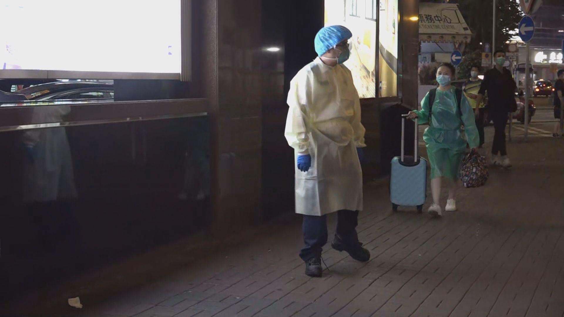 旺角維景酒店晚上有住客穿保護衣 登上救護車