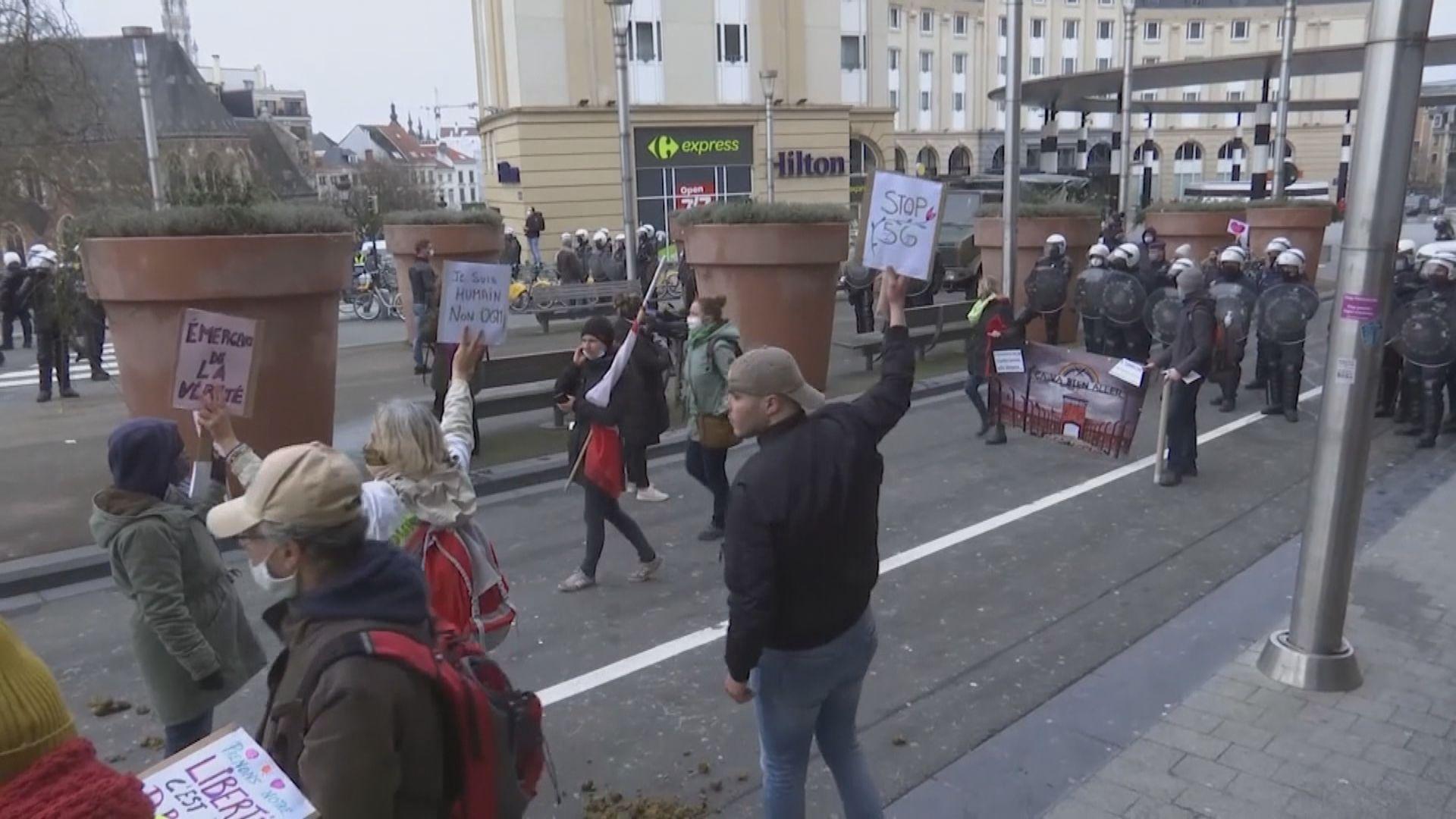 比利時反防疫措施示威 近五百人被捕