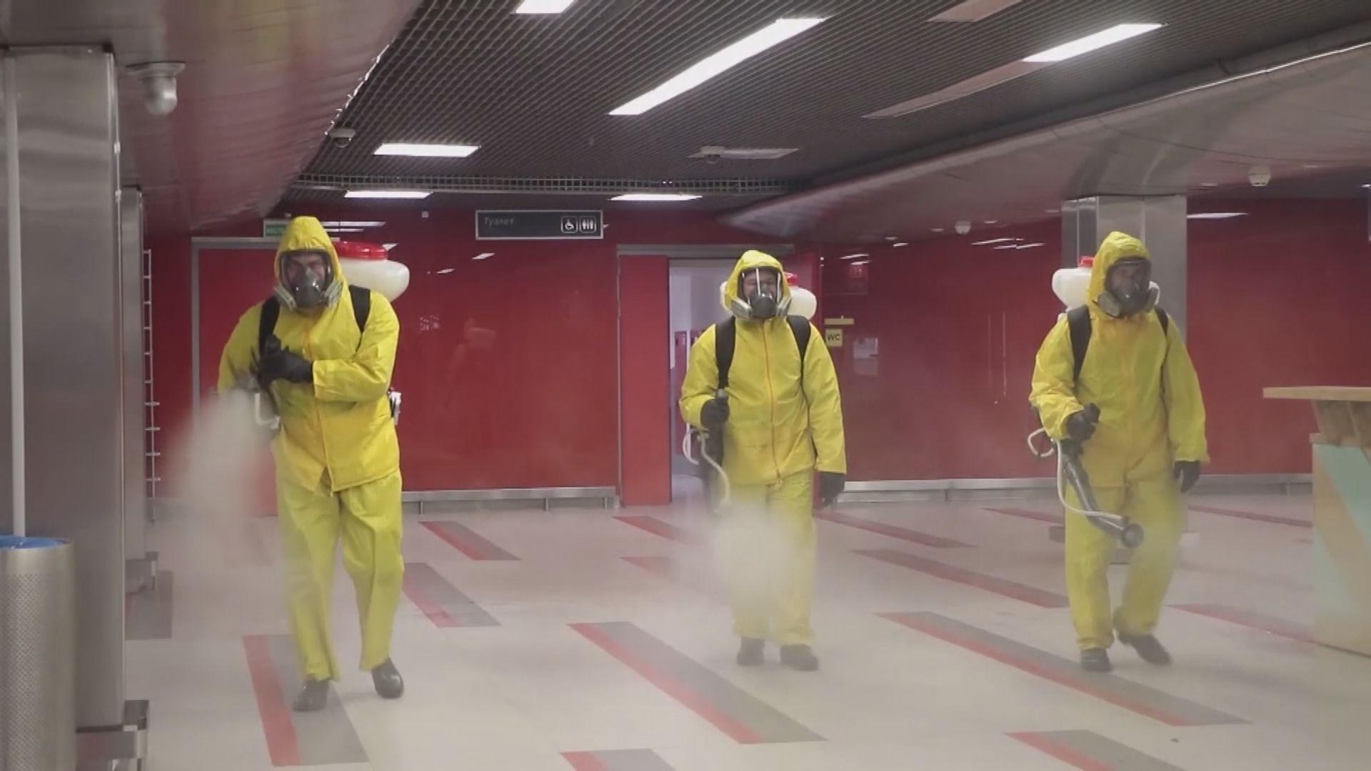莫斯科主要車站進行大規模消毒 普京︰疫情未見頂