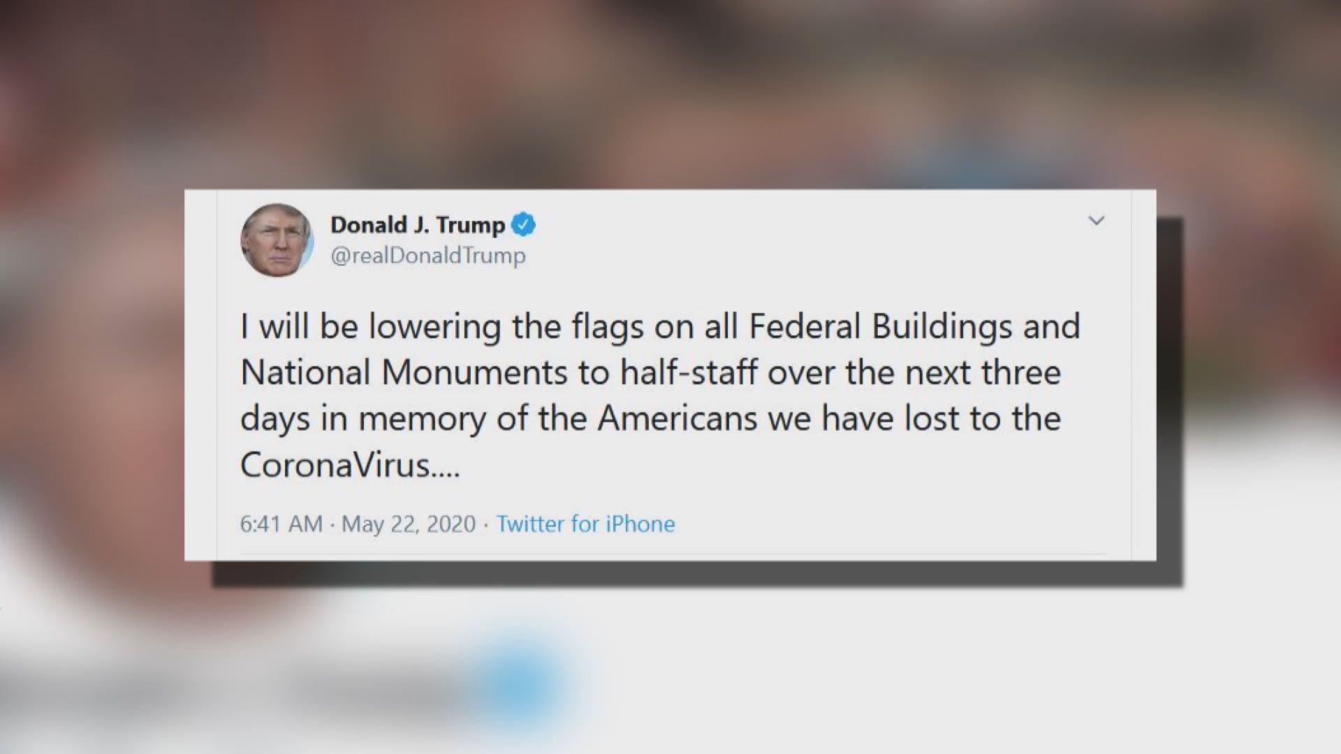 特朗普稱將下令全國下半旗三天致哀