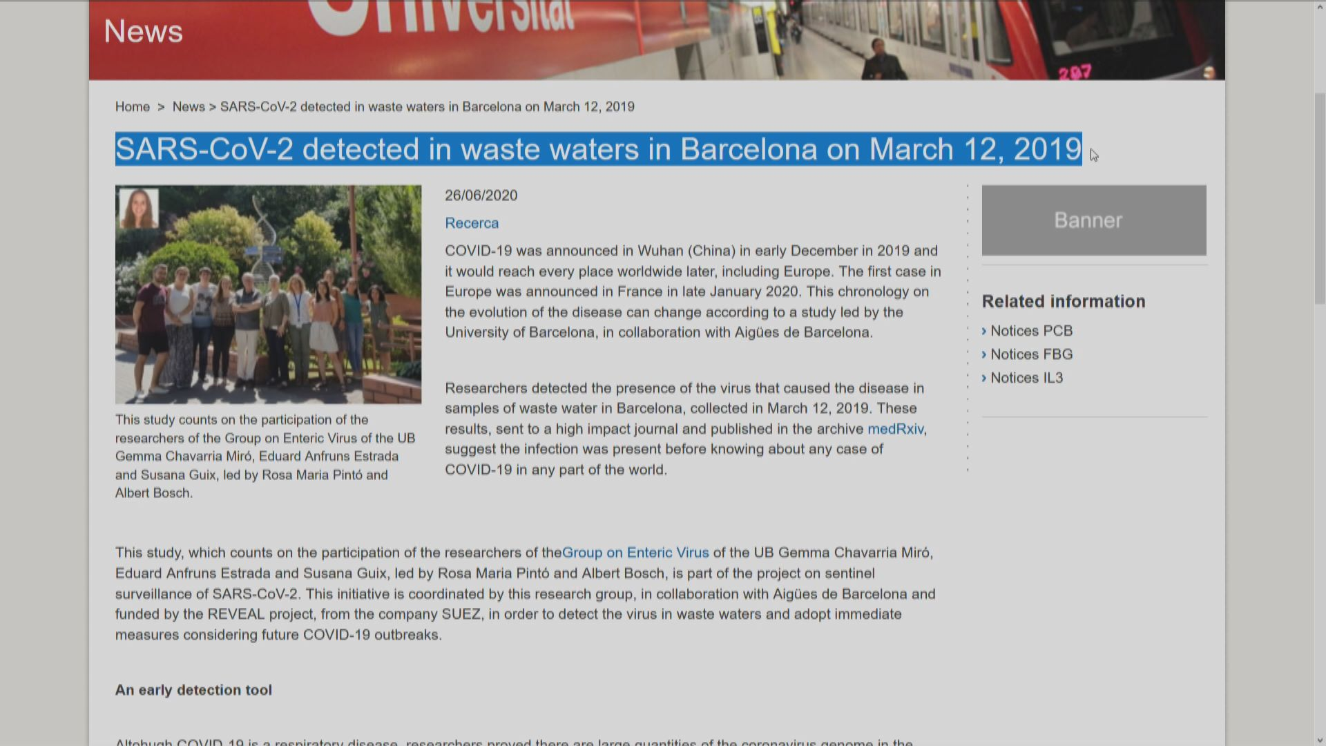 西班牙去年3月污水中發現新冠病毒