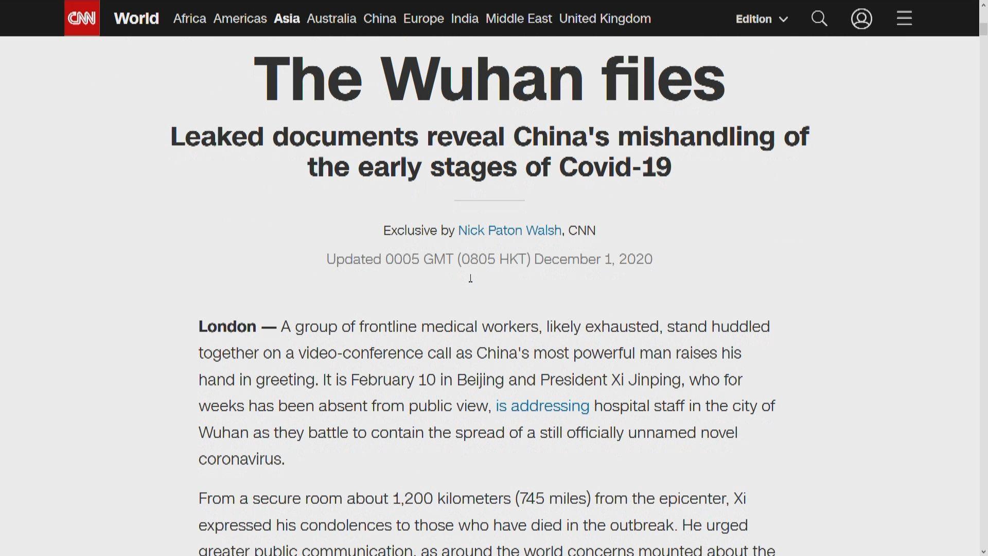CNN獲湖北官方文件 揭內地內部與對外發放疫情資訊曾不一致