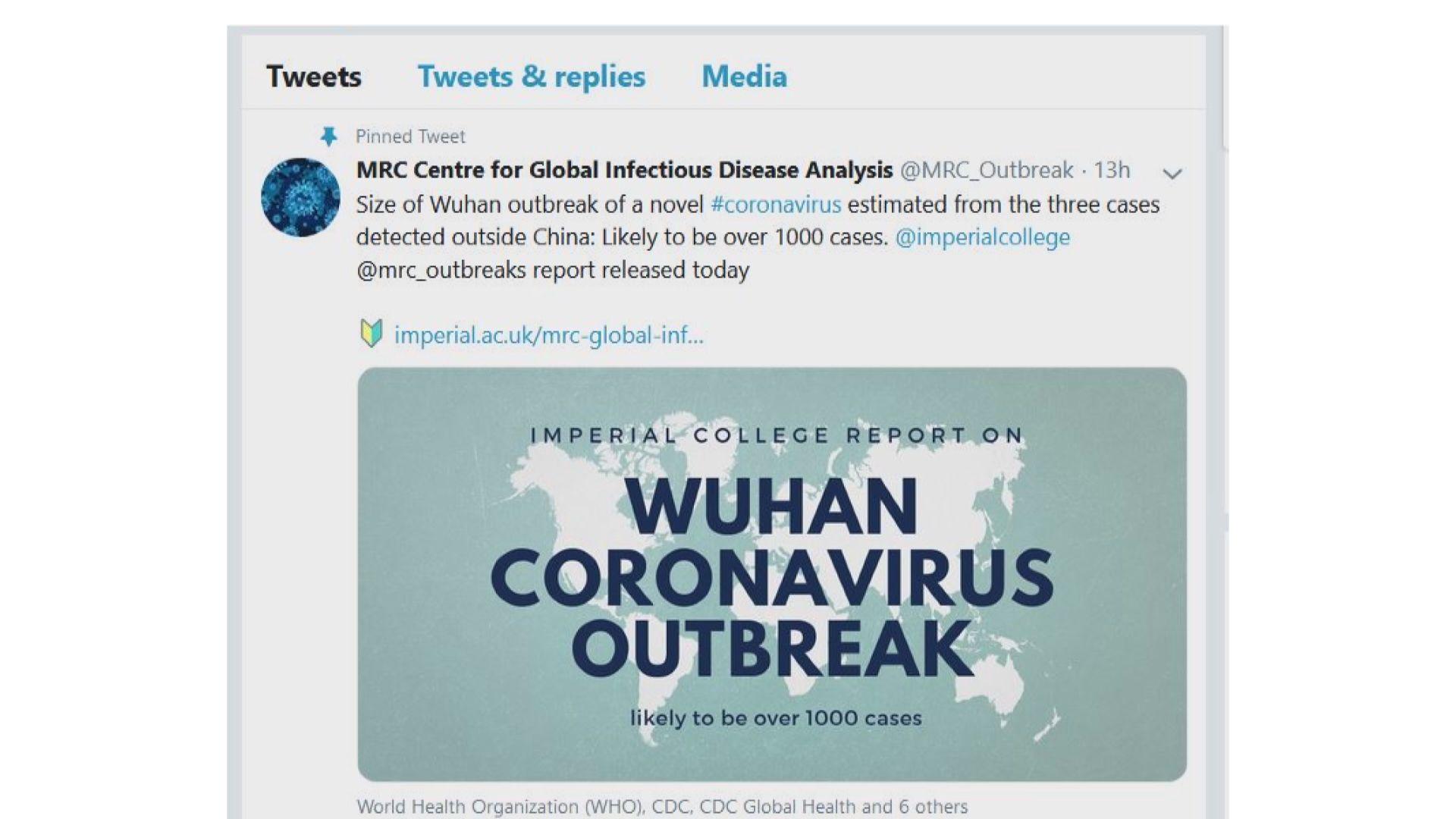 英國專家:新型冠狀病毒人傳人情況或較想像嚴重