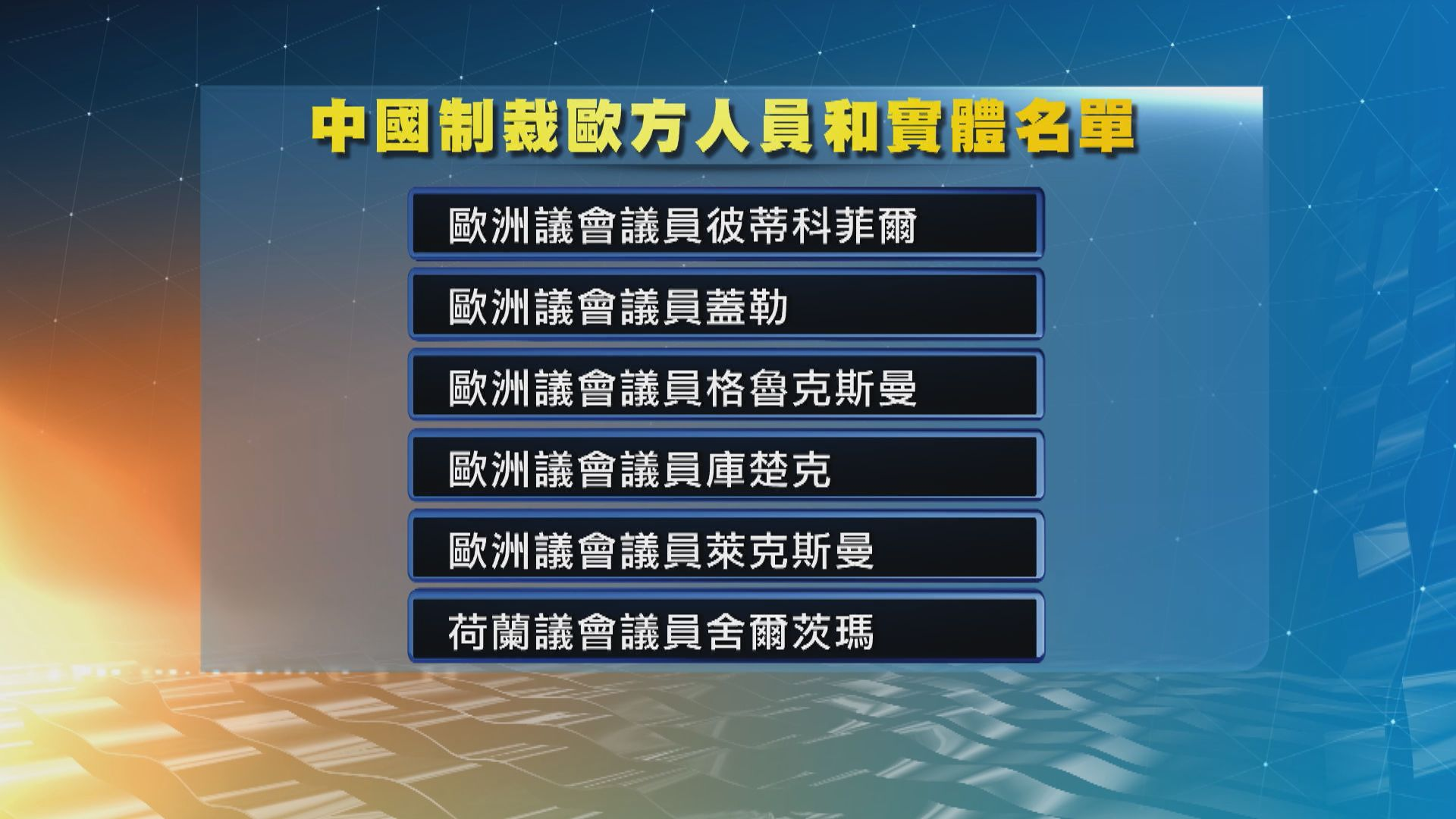 中國宣布反制措施 制裁歐方十名人員及四個實體