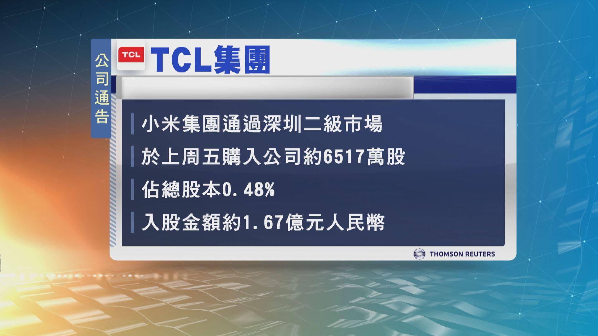 小米斥逾1.6億元人民幣入股TCL
