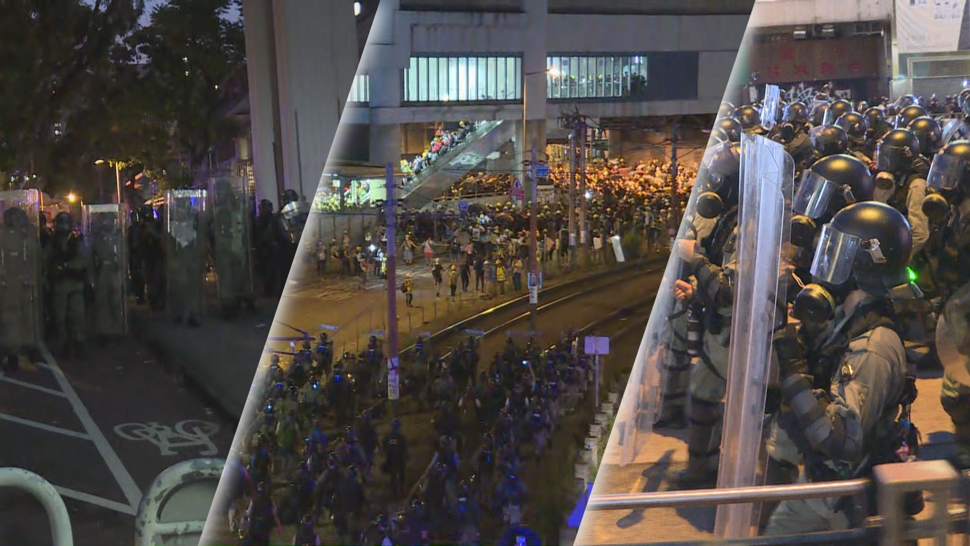 警方元朗清場行動最少分兩路驅散示威者