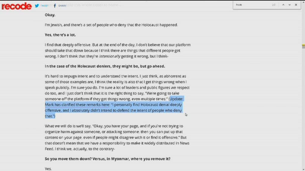 朱克伯格為涉及大屠殺的失言澄清